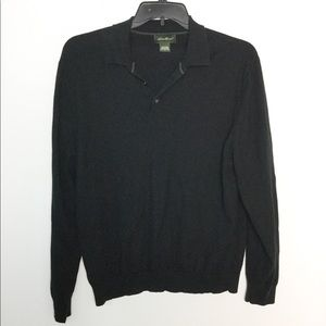 Eddie Bauer L Sweater Black 1/4 Button Polo EUC